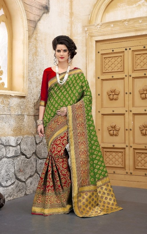 light green flower patterned banarasi silk sarees