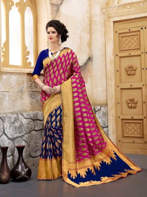 flower patterned banarasi silk sarees