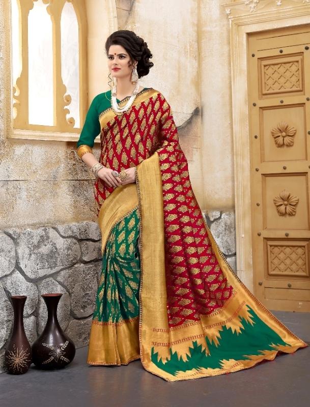 maroon and rama color flower patterned banarasi silk sarees