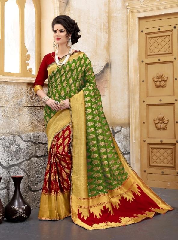 green and golden color flower patterned banarasi silk sarees