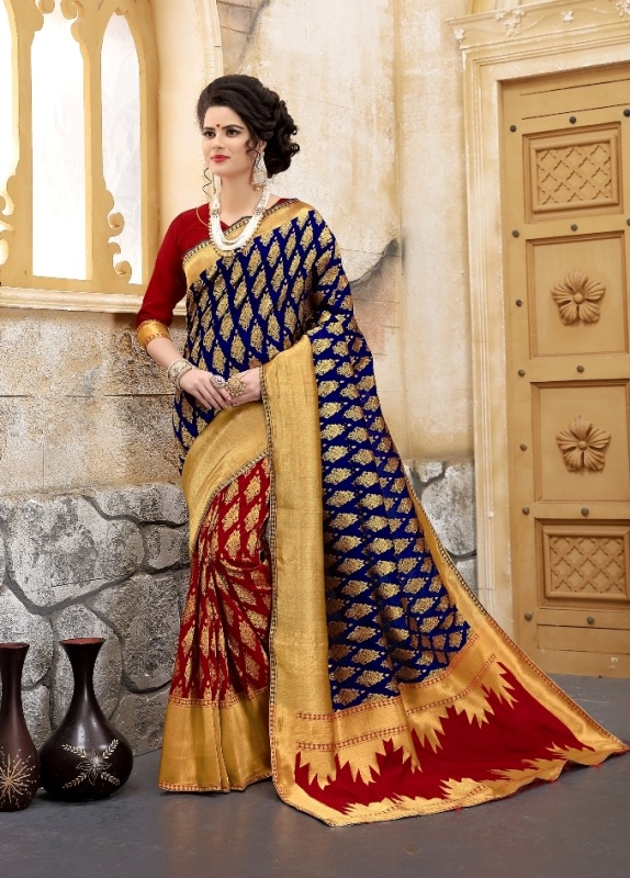 navyblue flower patterned banarasi silk sarees