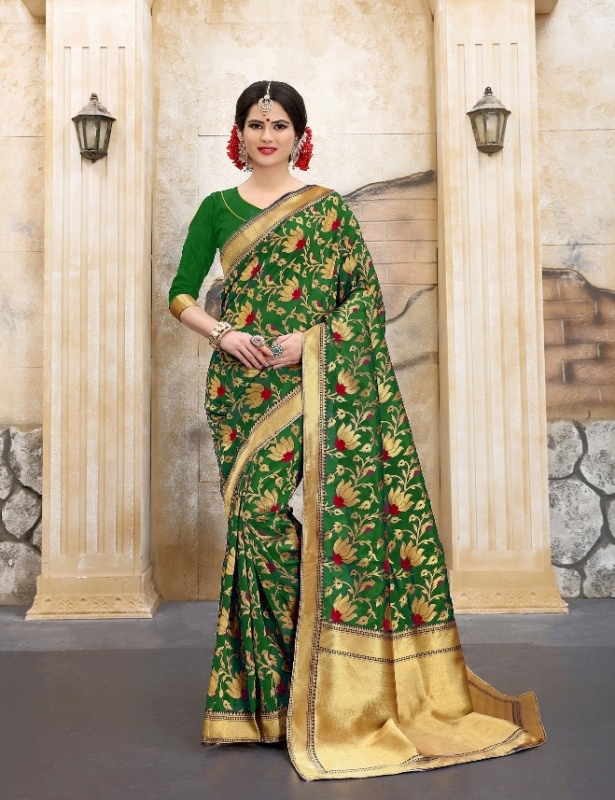 golden and green flower patterned banarasi silk sarees