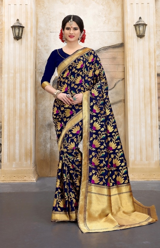 navyblue and red flower patterned banarasi silk sarees