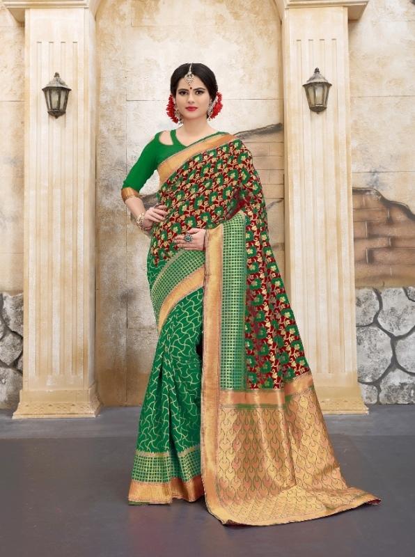green and goldern color flower patterned banarasi silk sarees