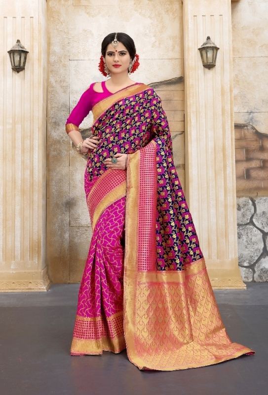 golden shade with pink and navyblue flower patterned banarasi silk sarees