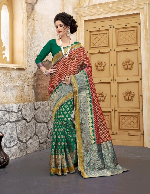 green and red flower patterned banarasi silk sarees