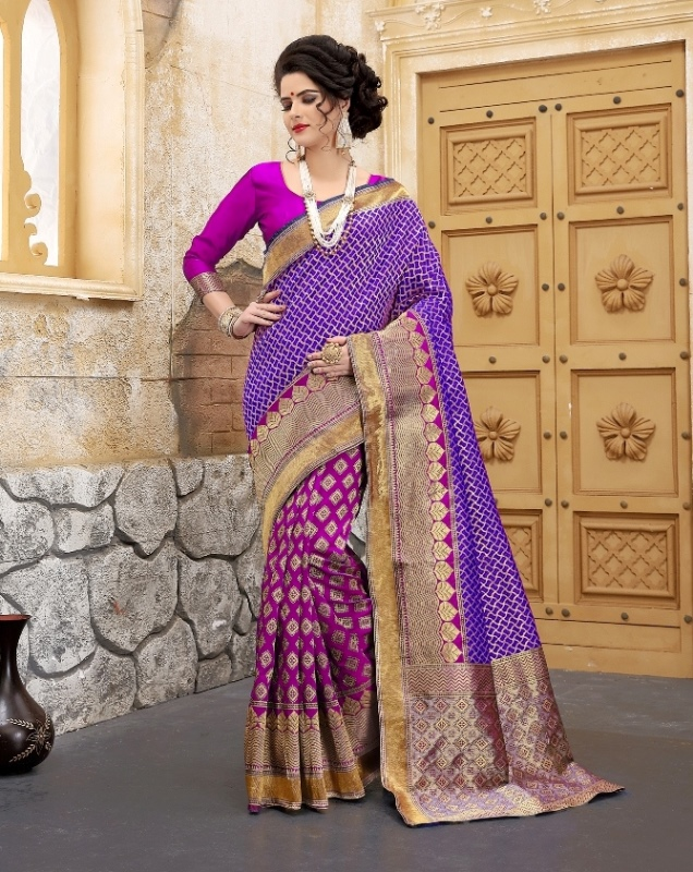 magenta and blue color flower patterned banarasi silk sarees