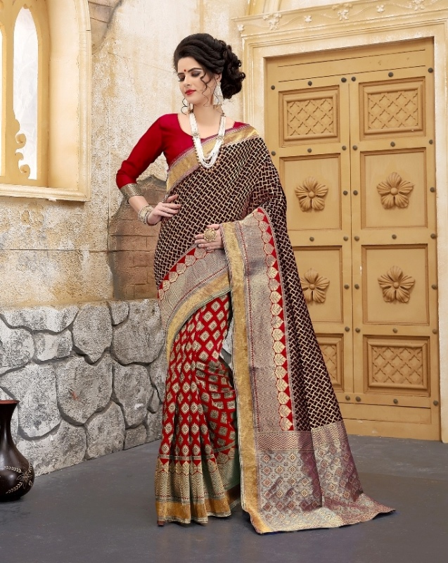 Dark red and chocolate color flower patterned banarasi silk sarees