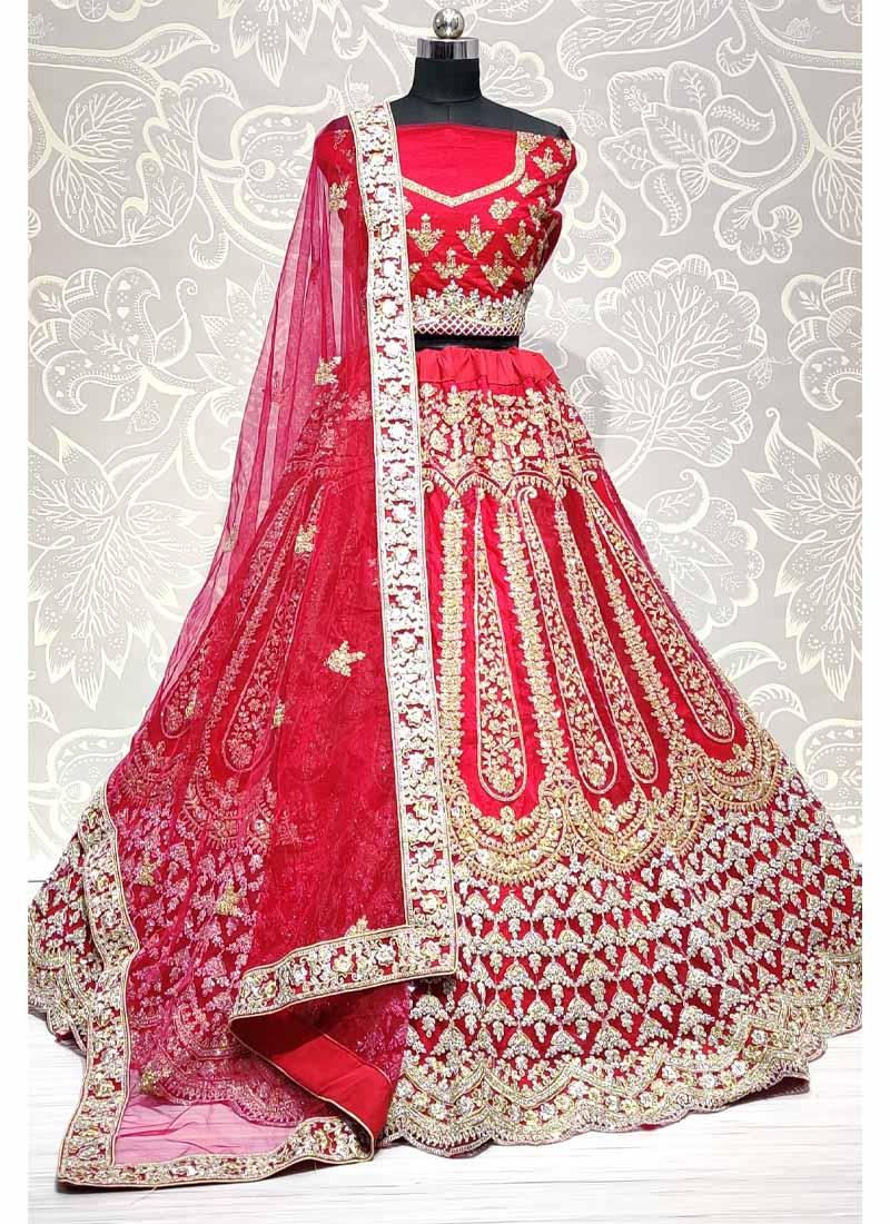 Full Of Zarkan Diamond Studded Dori Embroidered Lehengacholi In Pink