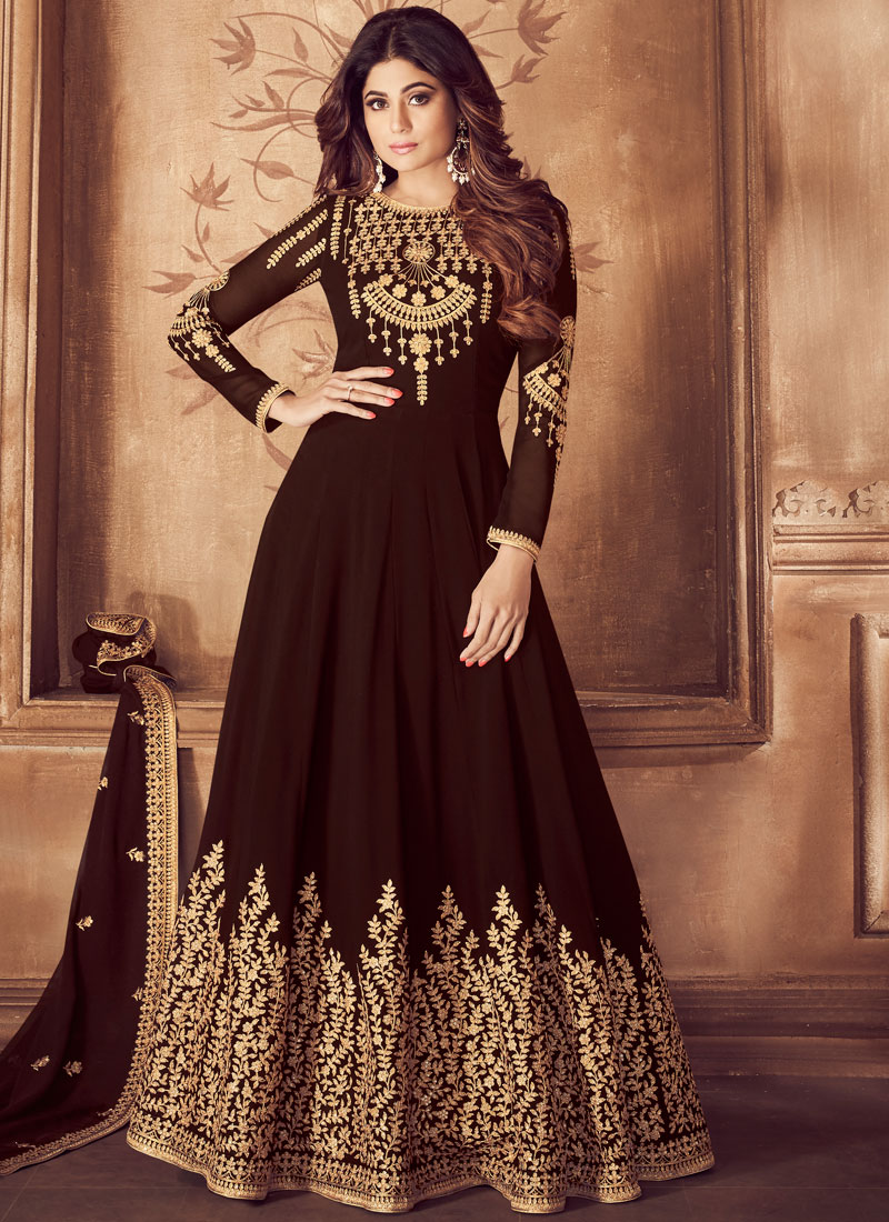 c746ebafb7 Georgette Anarkali Salwar Suit in Brown. Hover to zoom