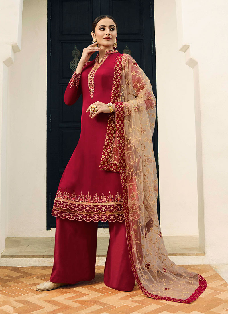 0ec0256e81 Georgette Satin Embroidered Designer Pakistani Suit in Red. Hover to zoom