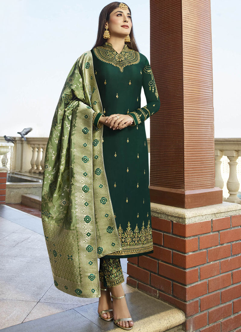 Georgette Satin Embroidered Salwar Suit in Green