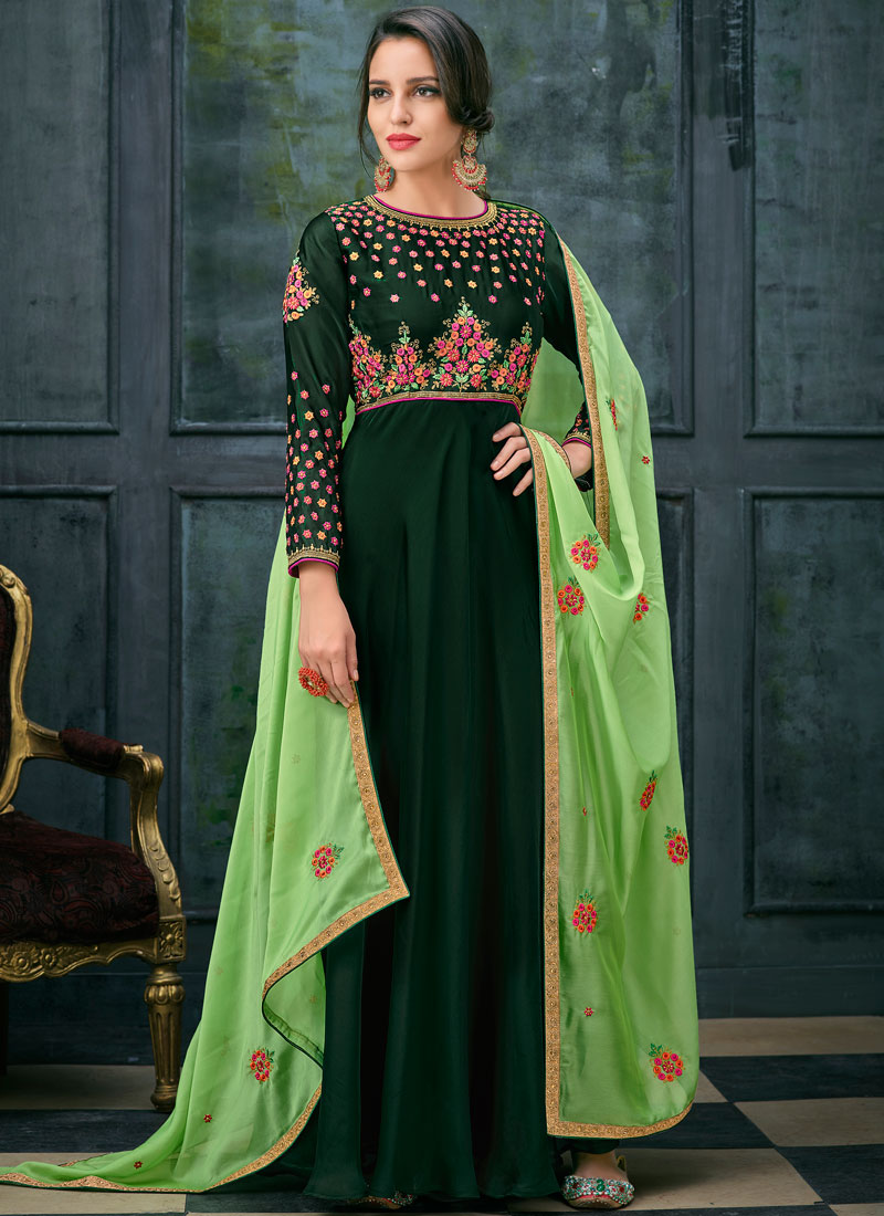 Georgette Satin Green Resham Floor Length Anarkali Suit