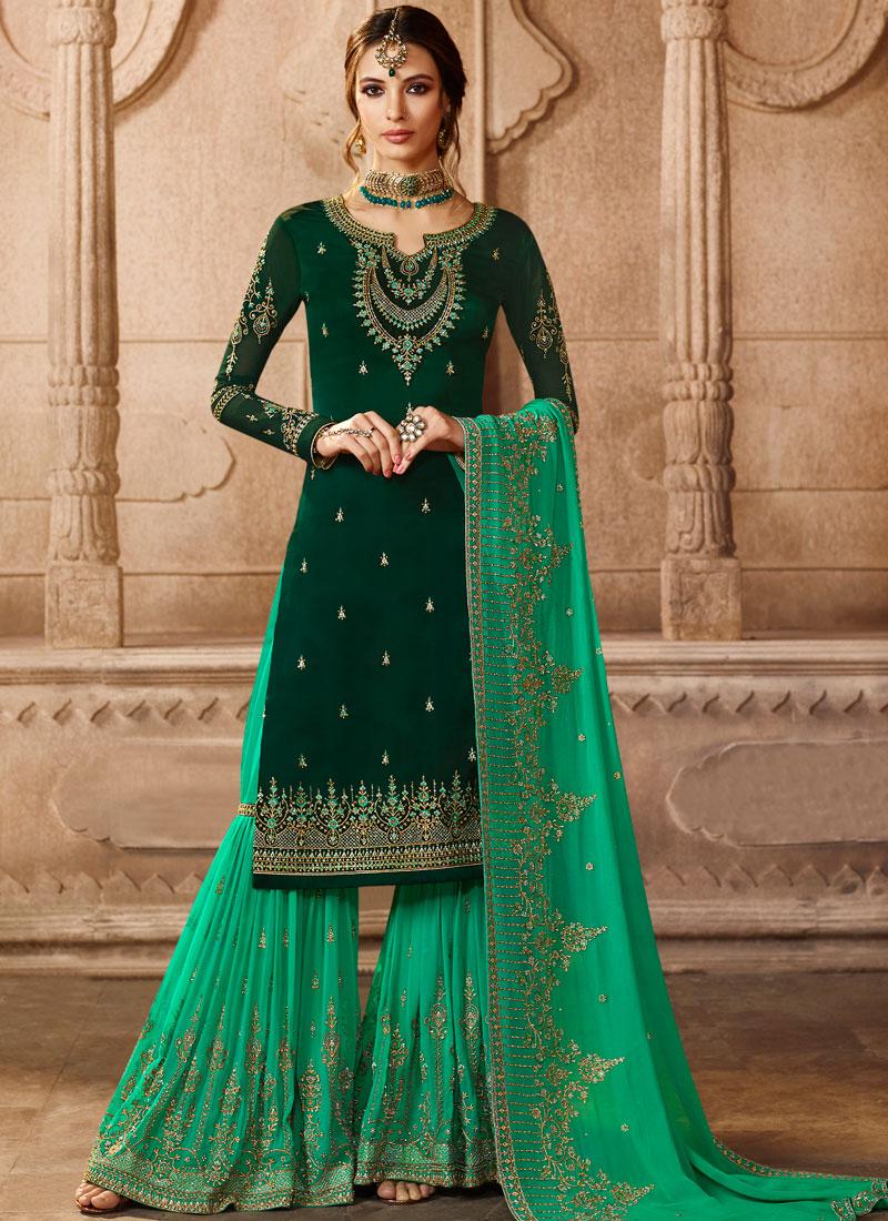 ca428efd7d Georgette Satin Lace Green Designer Pakistani Suit. Hover to zoom