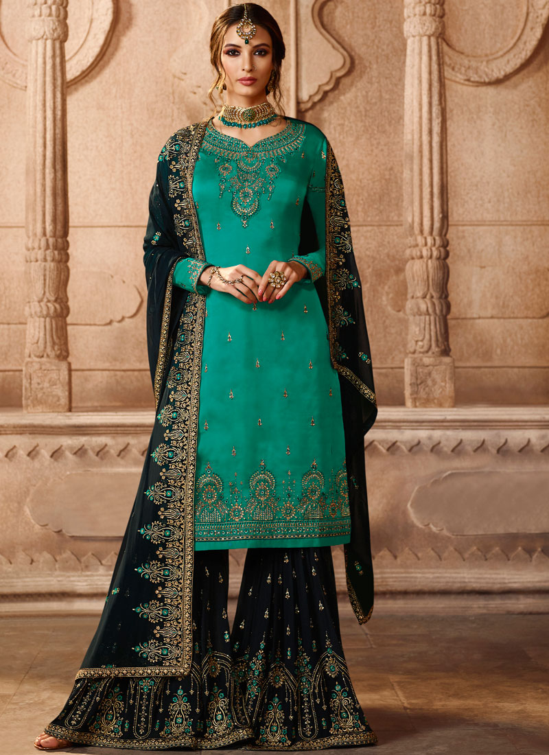 Georgette Satin Lace Sea Green Designer Pakistani Suit