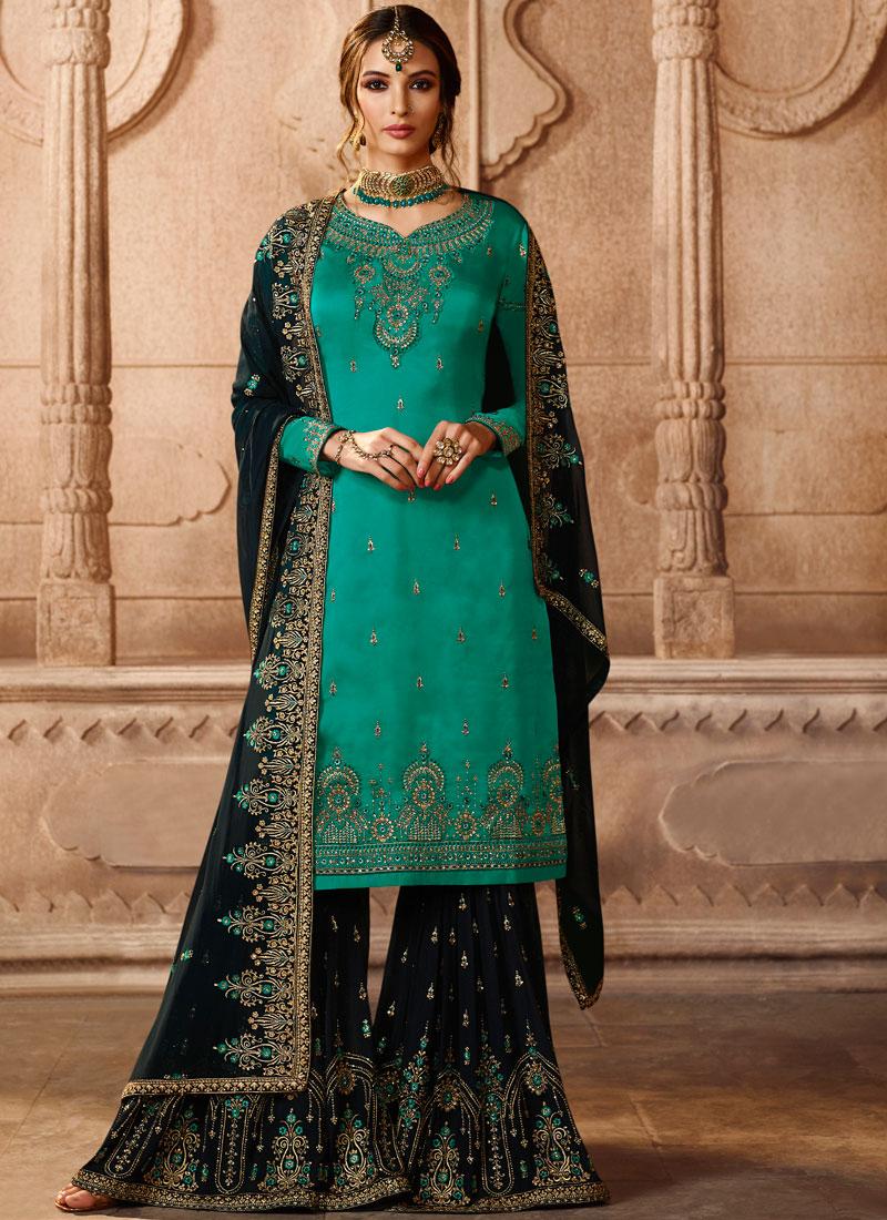 Georgette Satin Lace Sea Green Designer Pakistani Suit