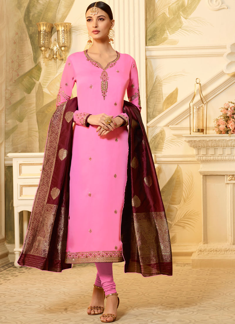 Georgette Satin Stone Churidar Designer Suit in Pink