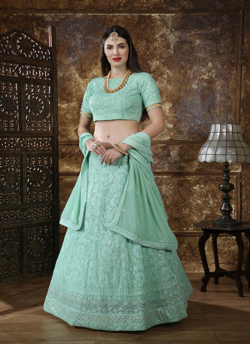 Georgette Wedding Lehengacholi in Mint Green with Thread work
