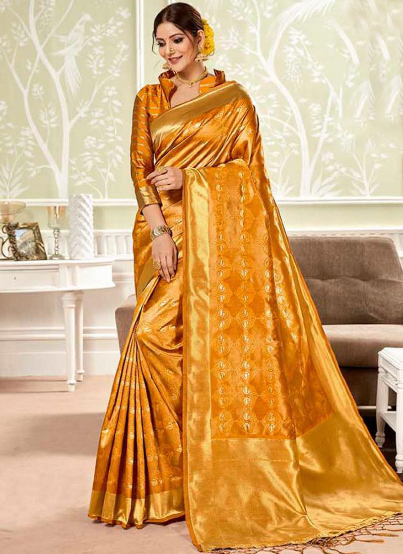 Gilded Orange Classic Saree