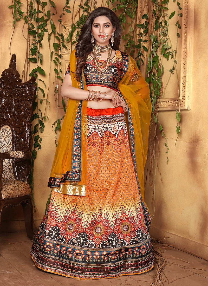 Gilded Orange Designer Lehenga Choli