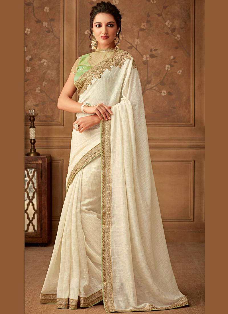 Girlish Border Faux Chiffon Designer Saree