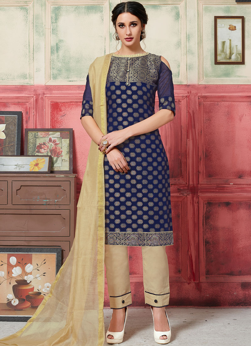 Girlish Jacquard Silk Navy Blue Weaving Designer Suit