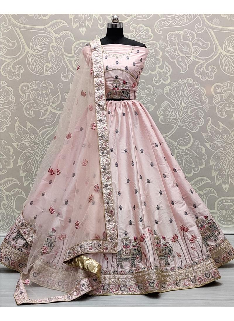 Glamorous Baby Pink Flaired Sober Work Wedding Girlish Lehenga Choli