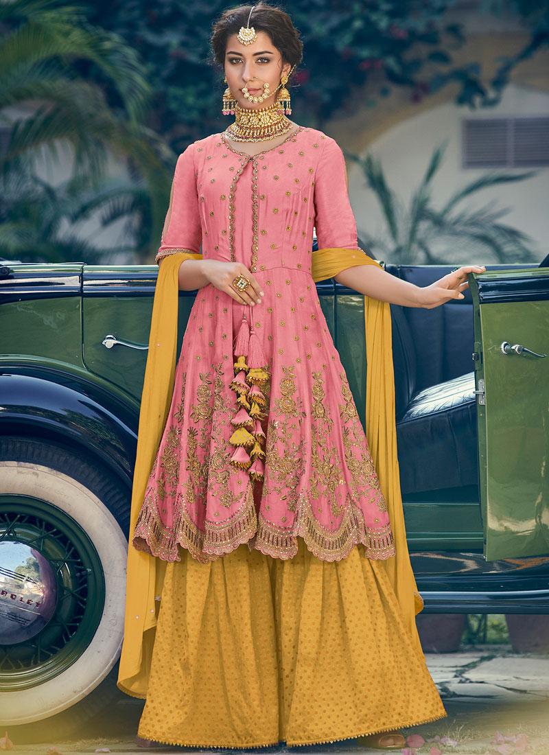 Gleaming Pink Resham Georgette Designer Palazzo Salwar Suit