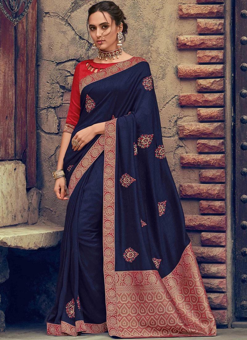 Glorious Embroidered Navy Blue Designer Saree
