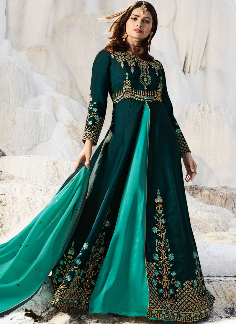 Glorious Teal Mehndi Anarkali Salwar Suit