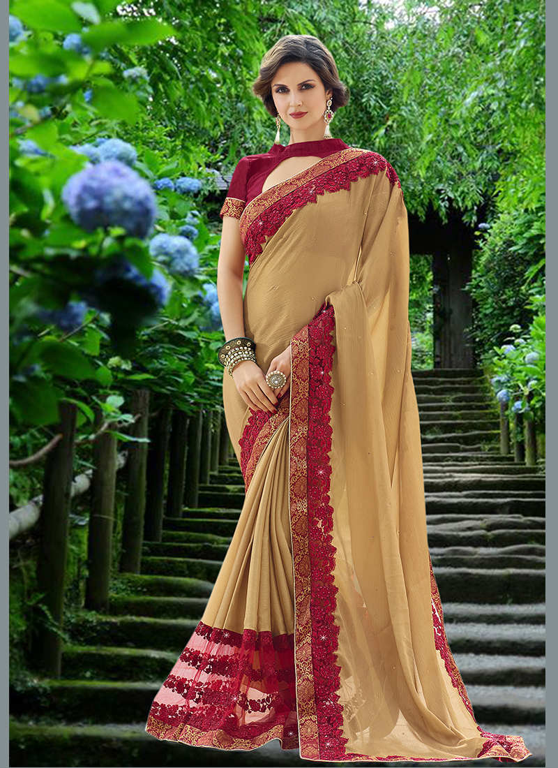 Glossy Embroidered Faux Chiffon Beige Designer Saree