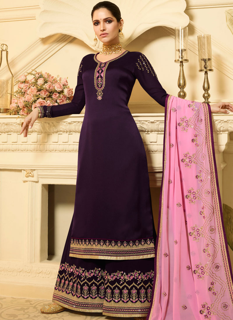 Glowing Georgette Satin Purple Embroidered Designer Palazzo Salwar Suit