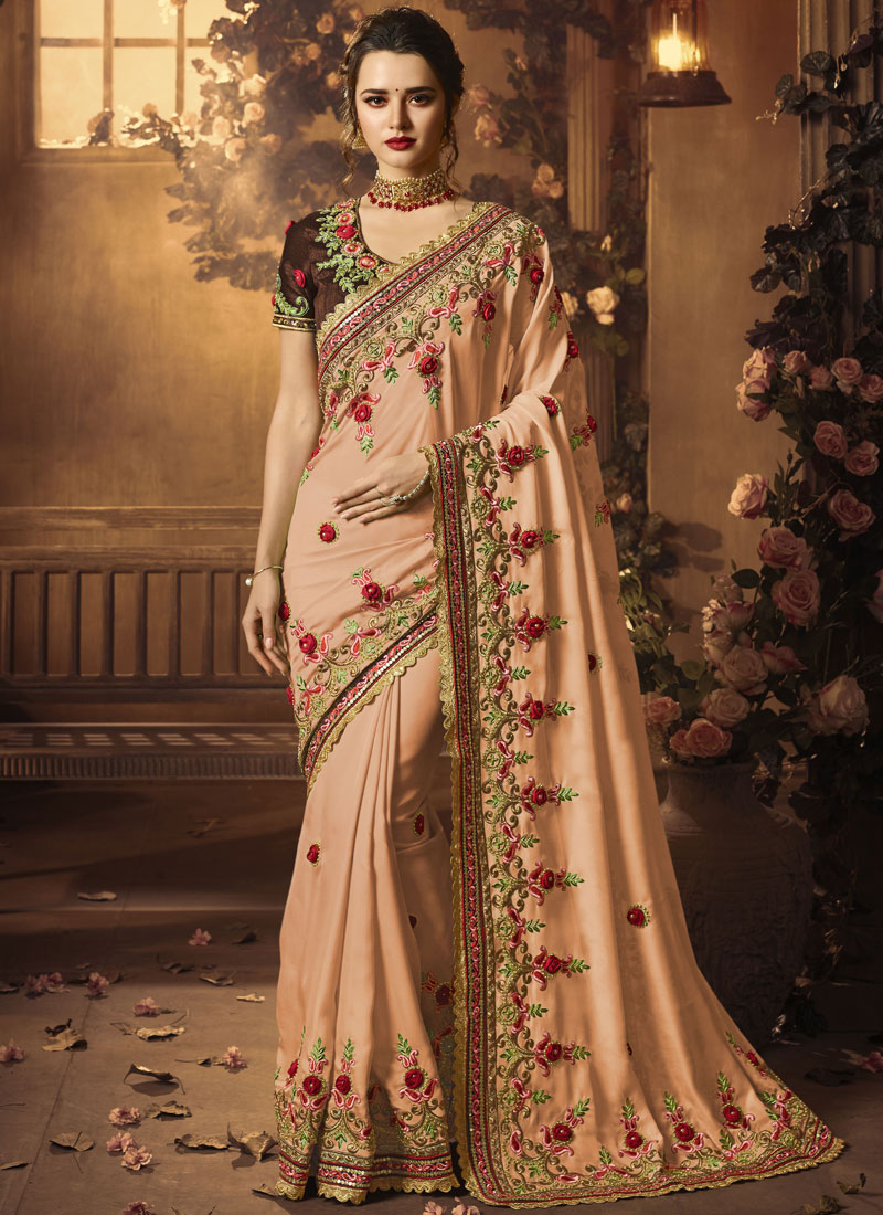 Glowing Satin Silk Resham Designer Traditional Saree