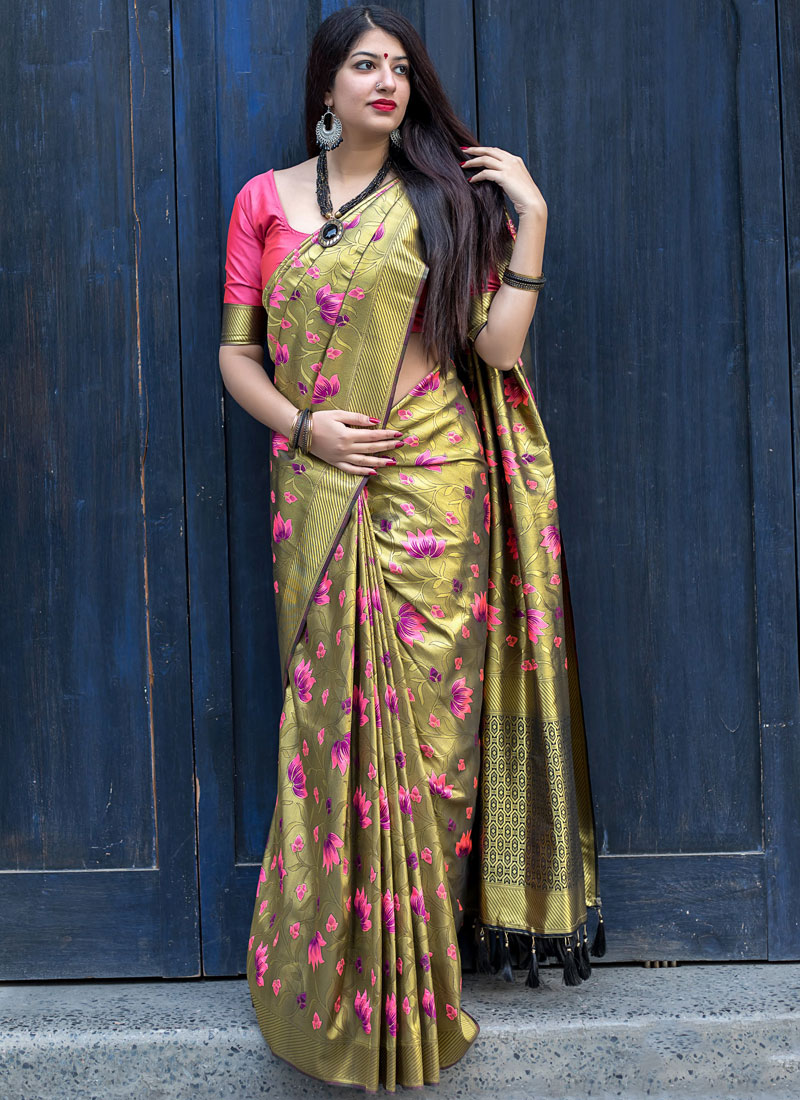 Gold Art Silk Weaving Designer Traditional Saree