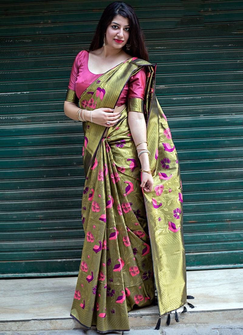 Gold Weaving Wedding Designer Traditional Saree