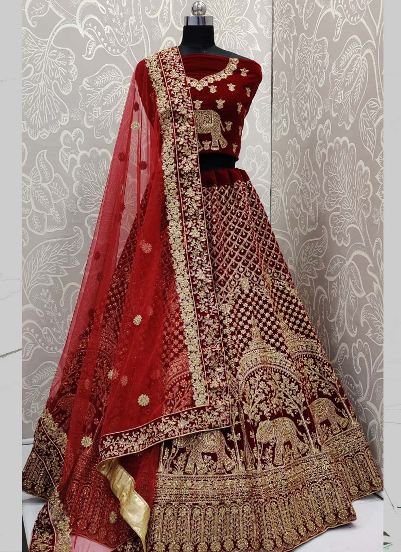 Golden Maroon Vivacious Bridal Lehenga With Blouse