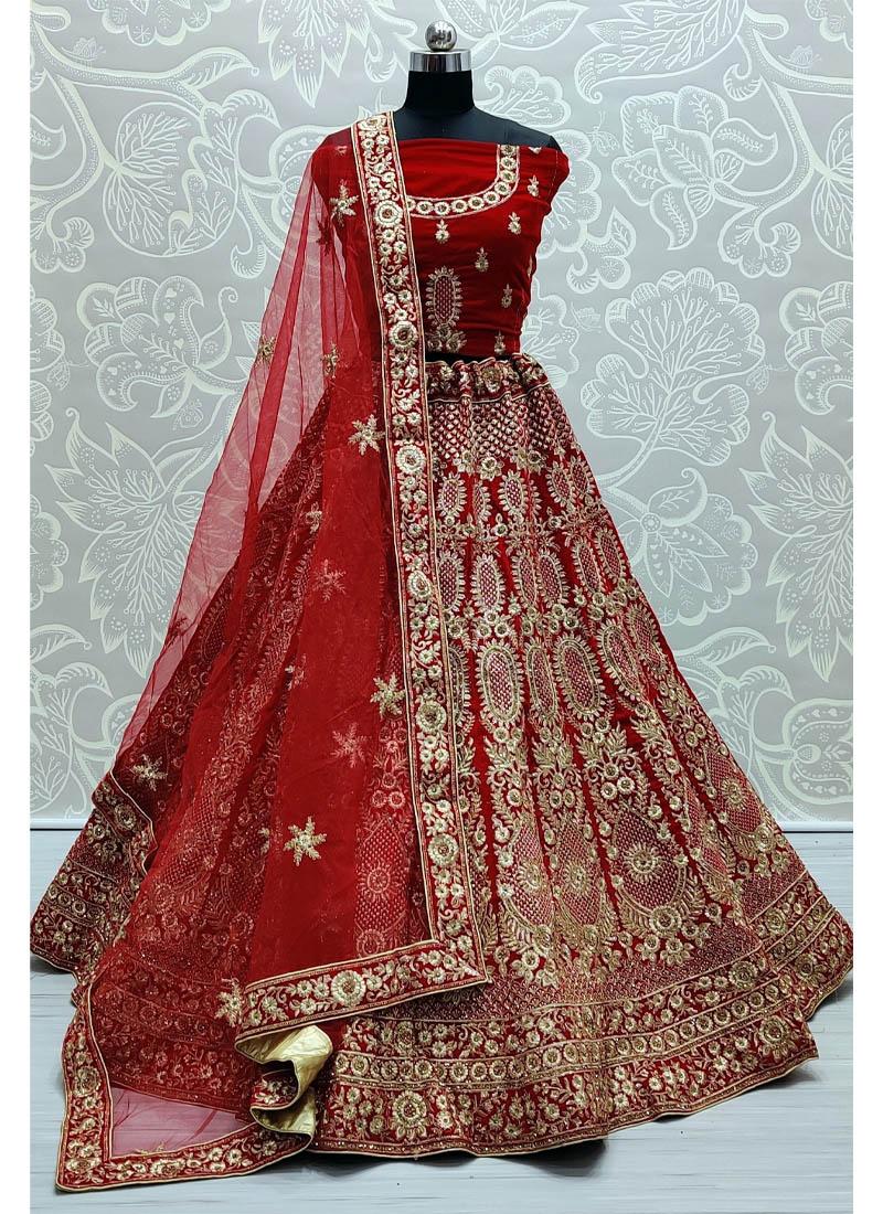 Goodly Red Zari and Thread Embroidery work Velvet Bridal Lehenga Choli