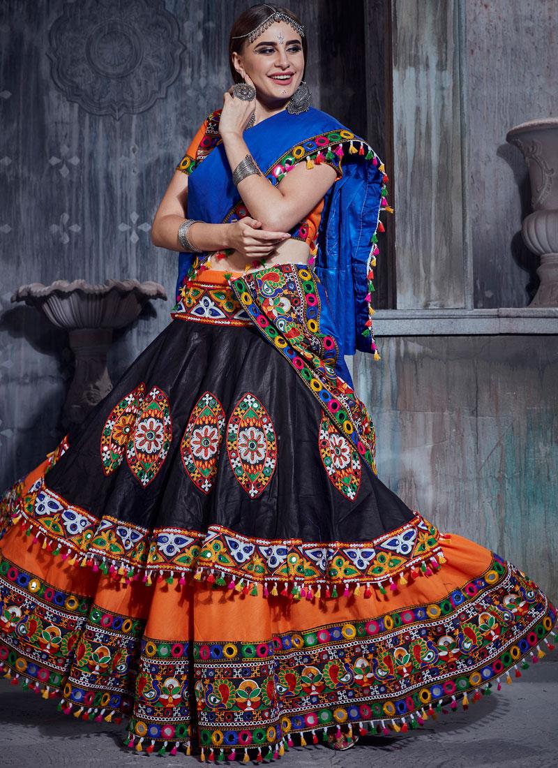 Graceful Black and Orange Cotton Trendy Designer Lehenga Choli