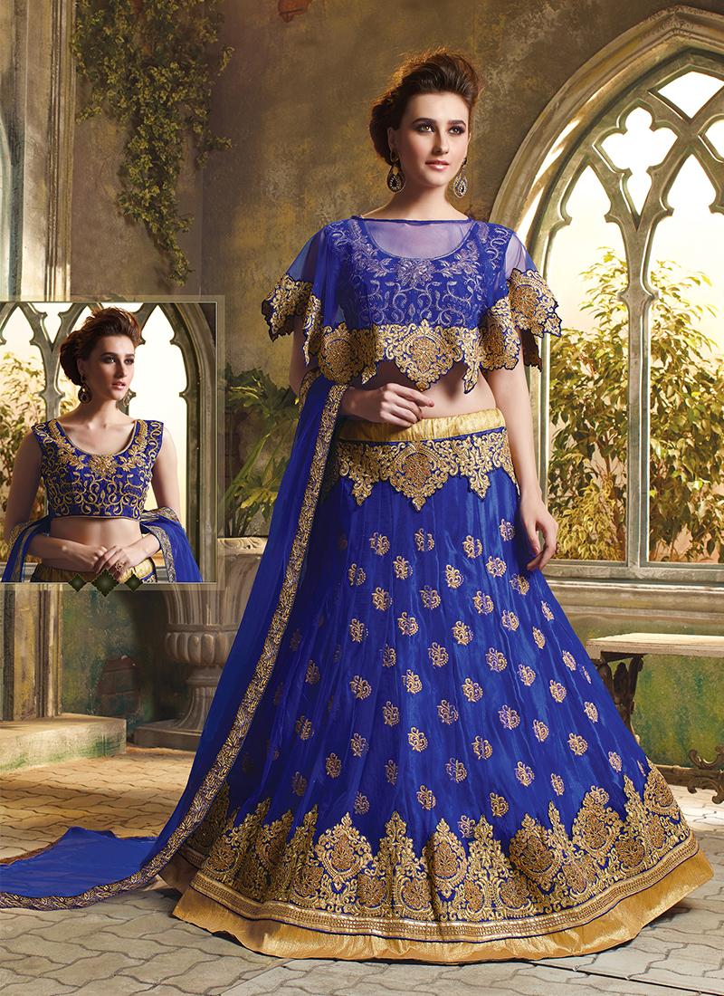Graceful Blue Art Silk Trendy Lehenga Choli