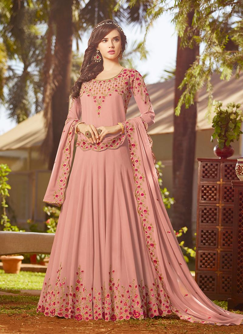 Graceful Embroidered Georgette Pink Anarkali Suit