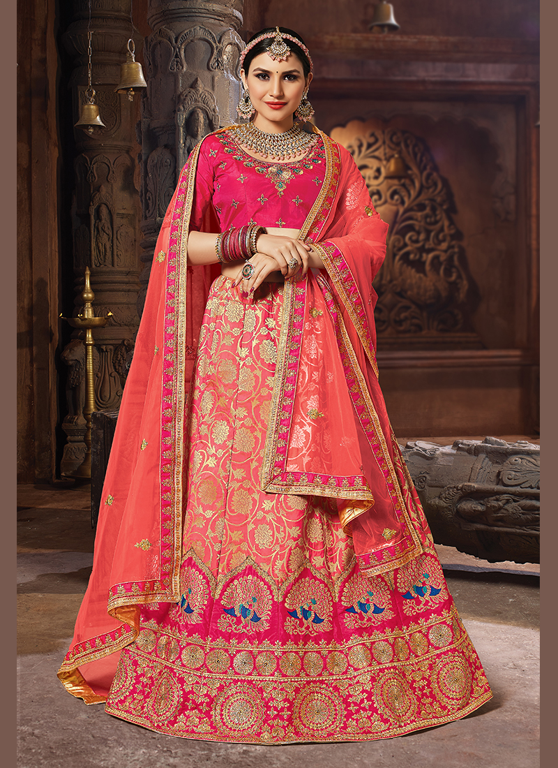 Graceful Embroidered Peach Banarasi Silk Designer Lehenga Choli