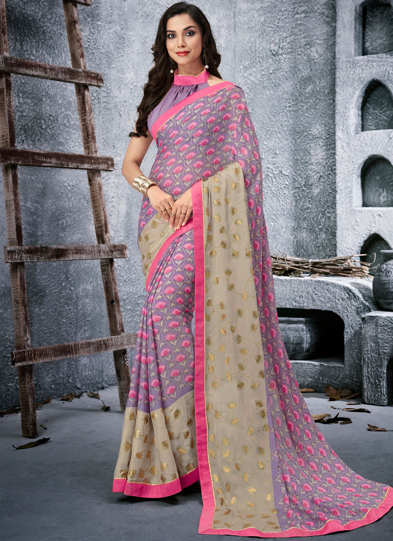 d4842e3341 Graceful Multi Colour Abstract Print Faux Georgette Printed Saree. Hover to  zoom