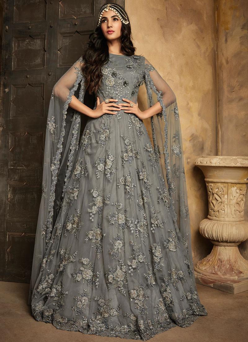 Graceful Net Embroidered Anarkali Salwar Suit