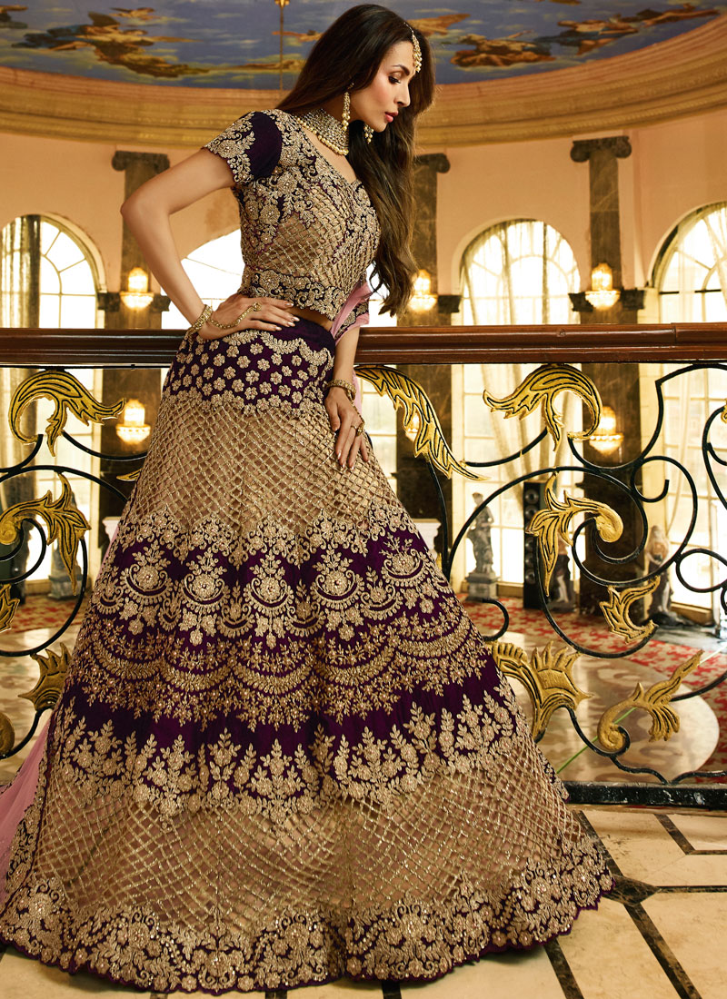 Grandiose Embroidered Malaika Arora Khan Art Silk Lehenga Choli