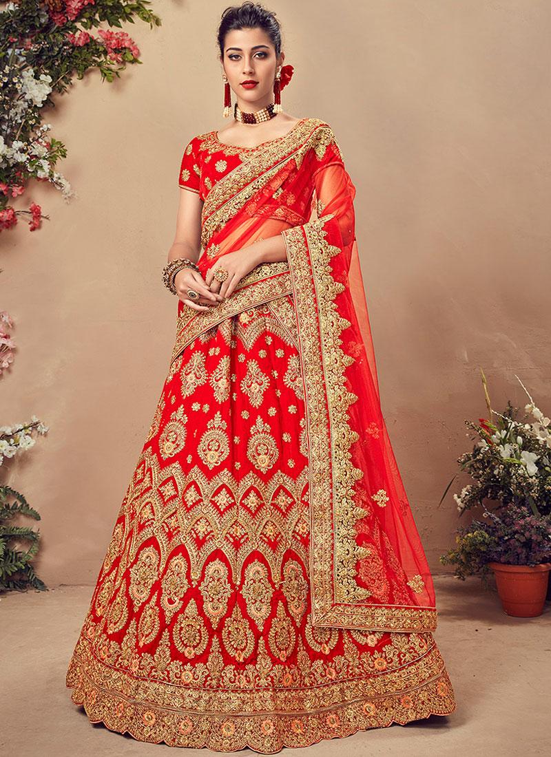 Gratifying Red Designer Lehenga Choli