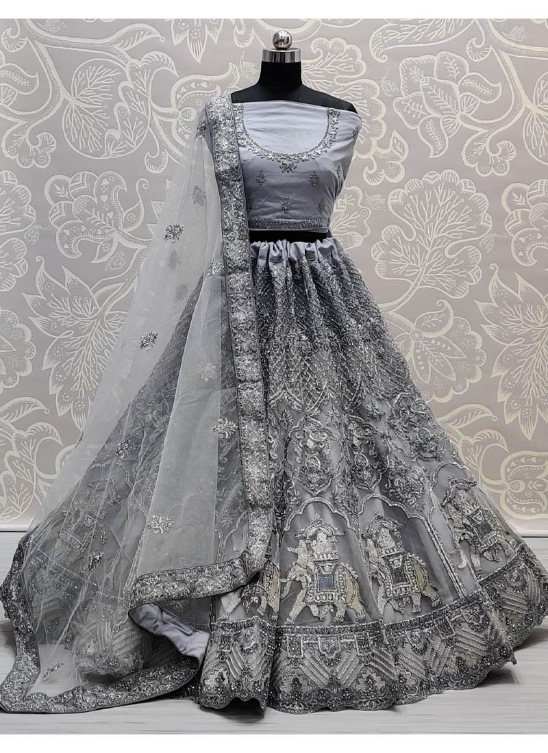 Gray Glamorous Very well embroidered full of Zarkan diamond on Net wedding Lehenga choli