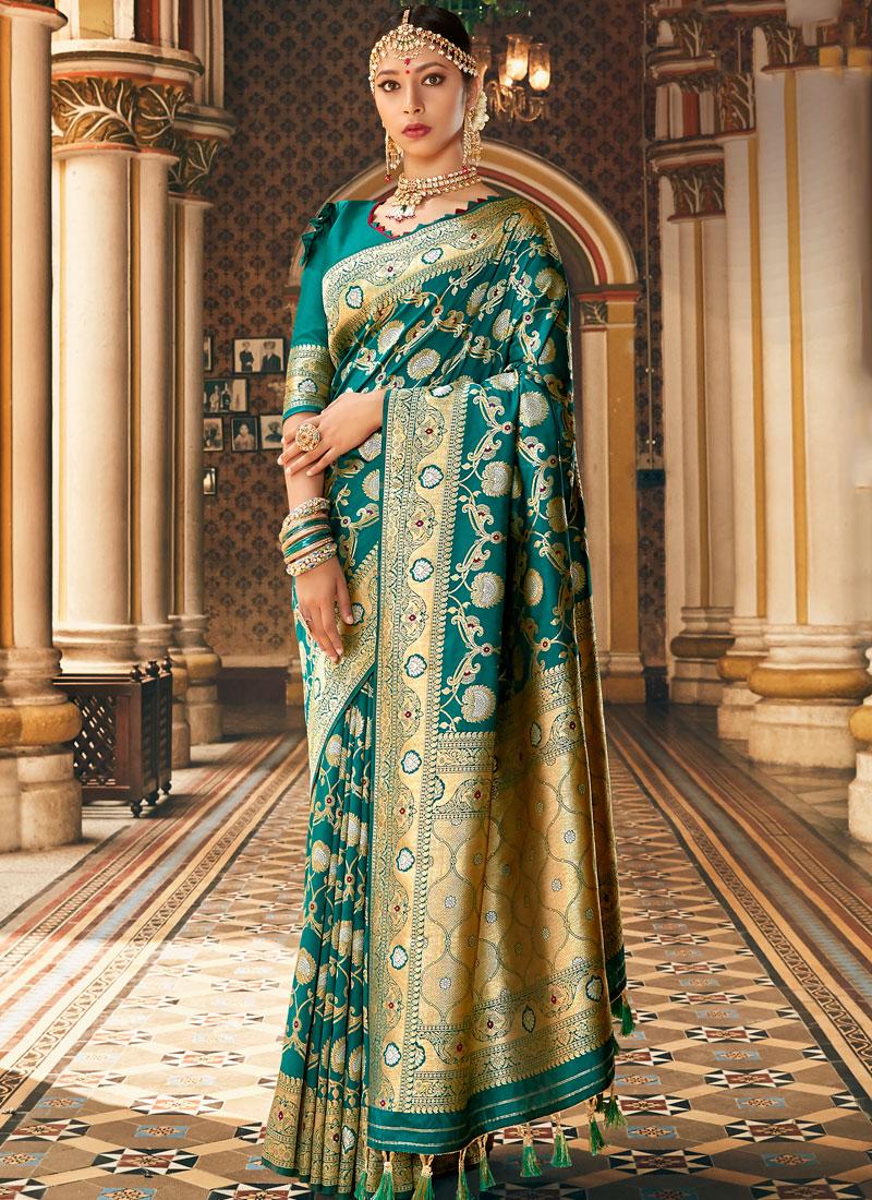 Green Silk Wedding Classic Banarasi Saree