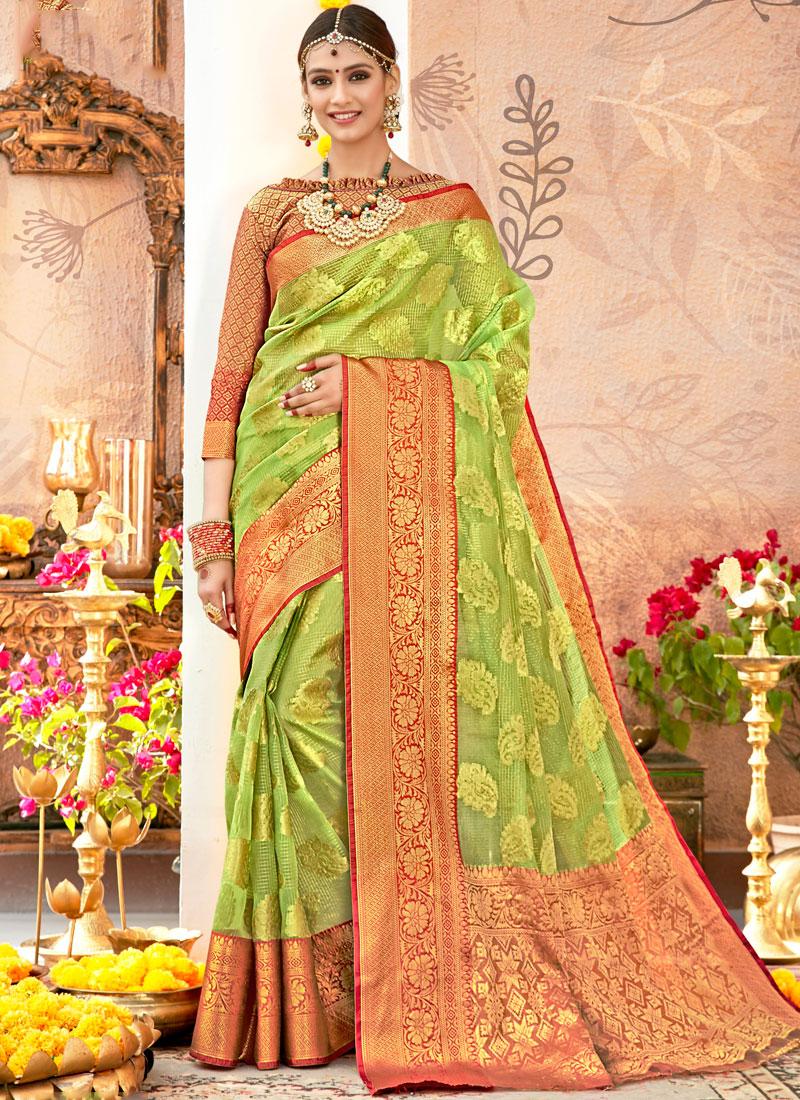 Green Art Silk Wedding Traditional Designer Saree