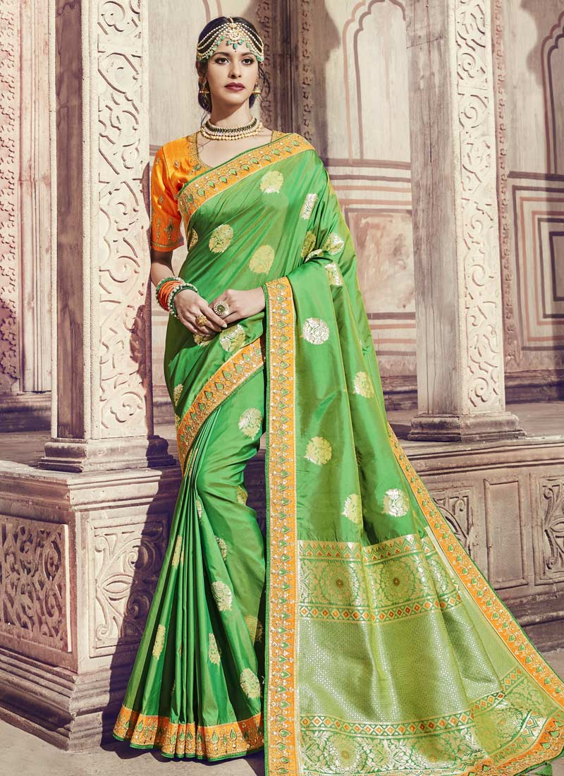 Green Banarasi Silk Thread Trendy Saree