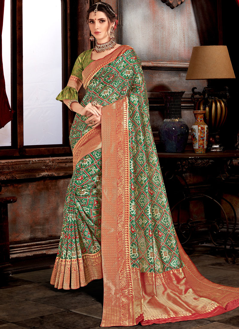 Green Bhagalpuri Silk Sangeet Designer Saree